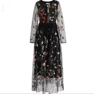 Lost in Flowering Fields Embroidered Mesh Dress